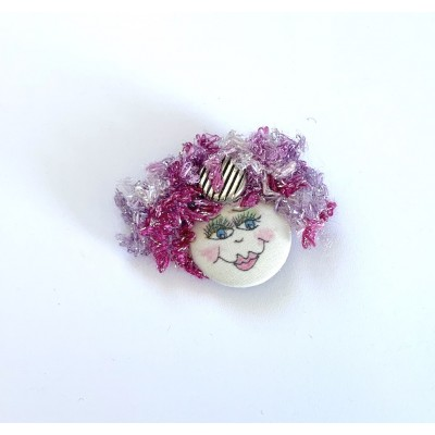 Bouton épinglette unique avec petit visage #021-rose