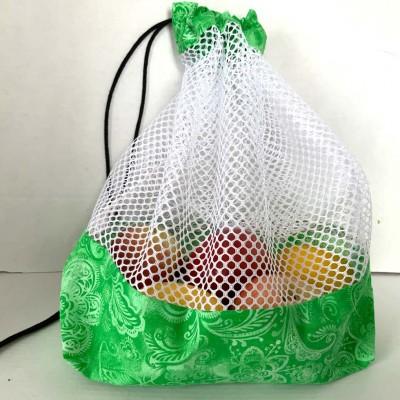 Sac à fruits et légumes réutilisable floral vert (grand)