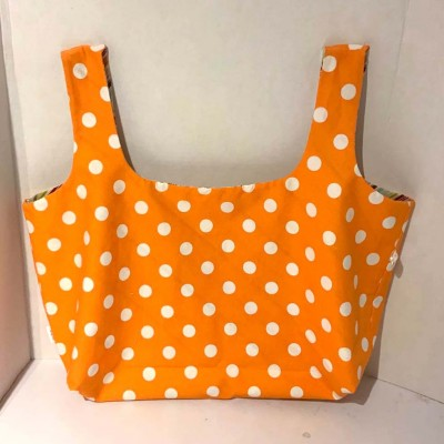 Sac d'épicerie orange pois réutilisable